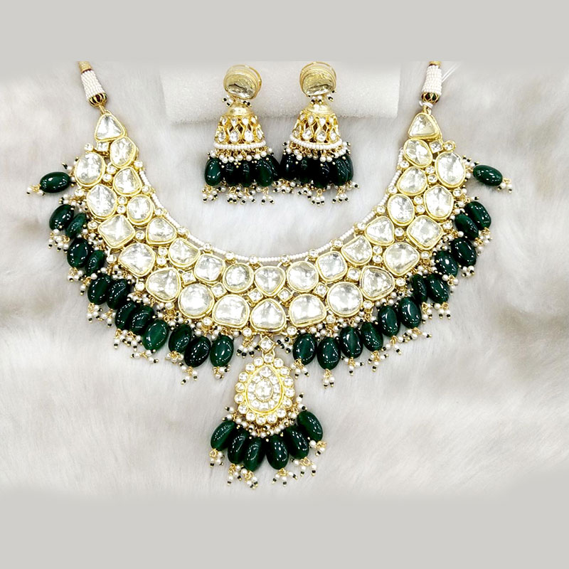 Gold Kundan And Emerald Green Necklace Set Lux Collections